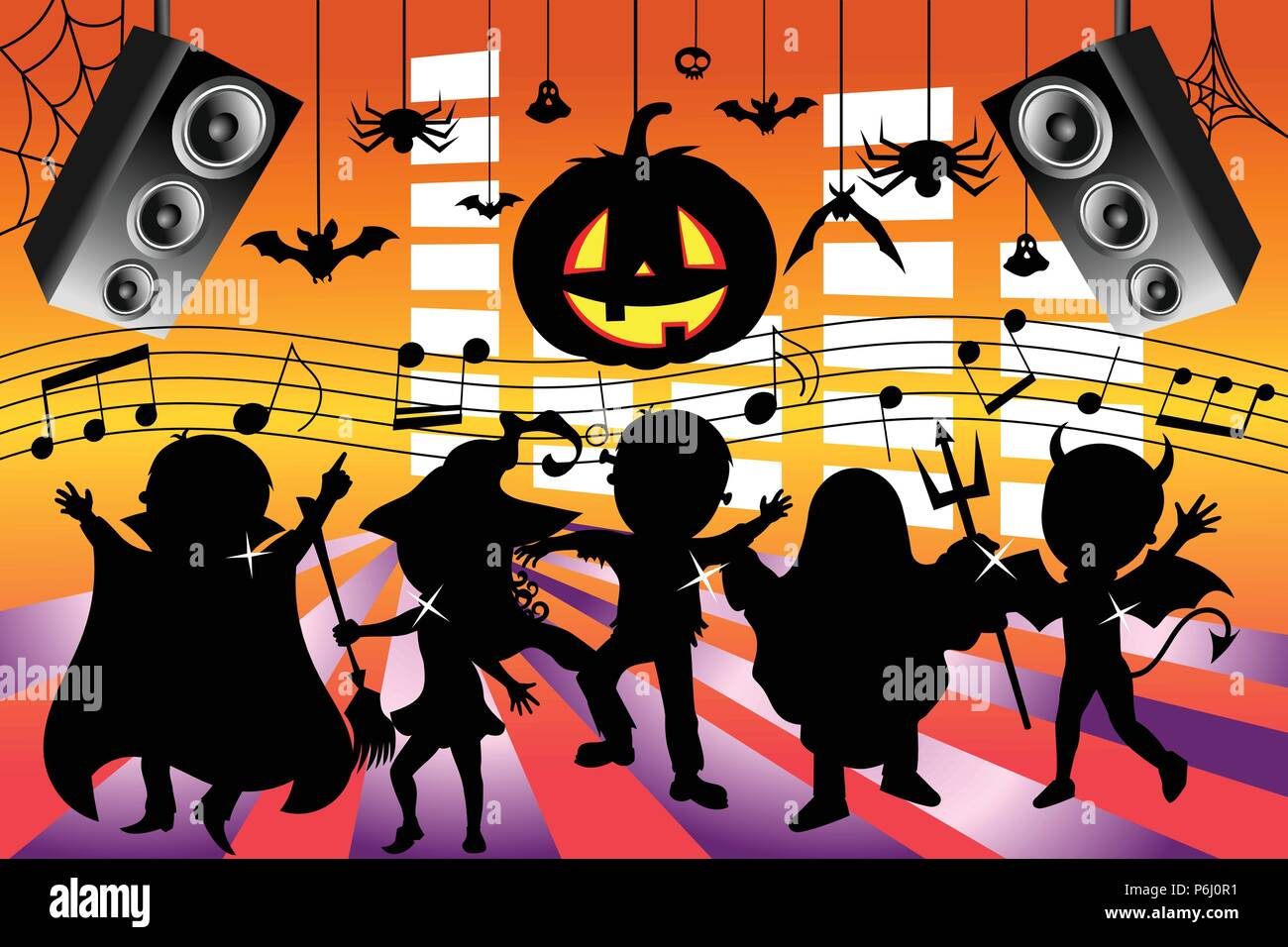 silhouette kids dancing halloween party stock vector art