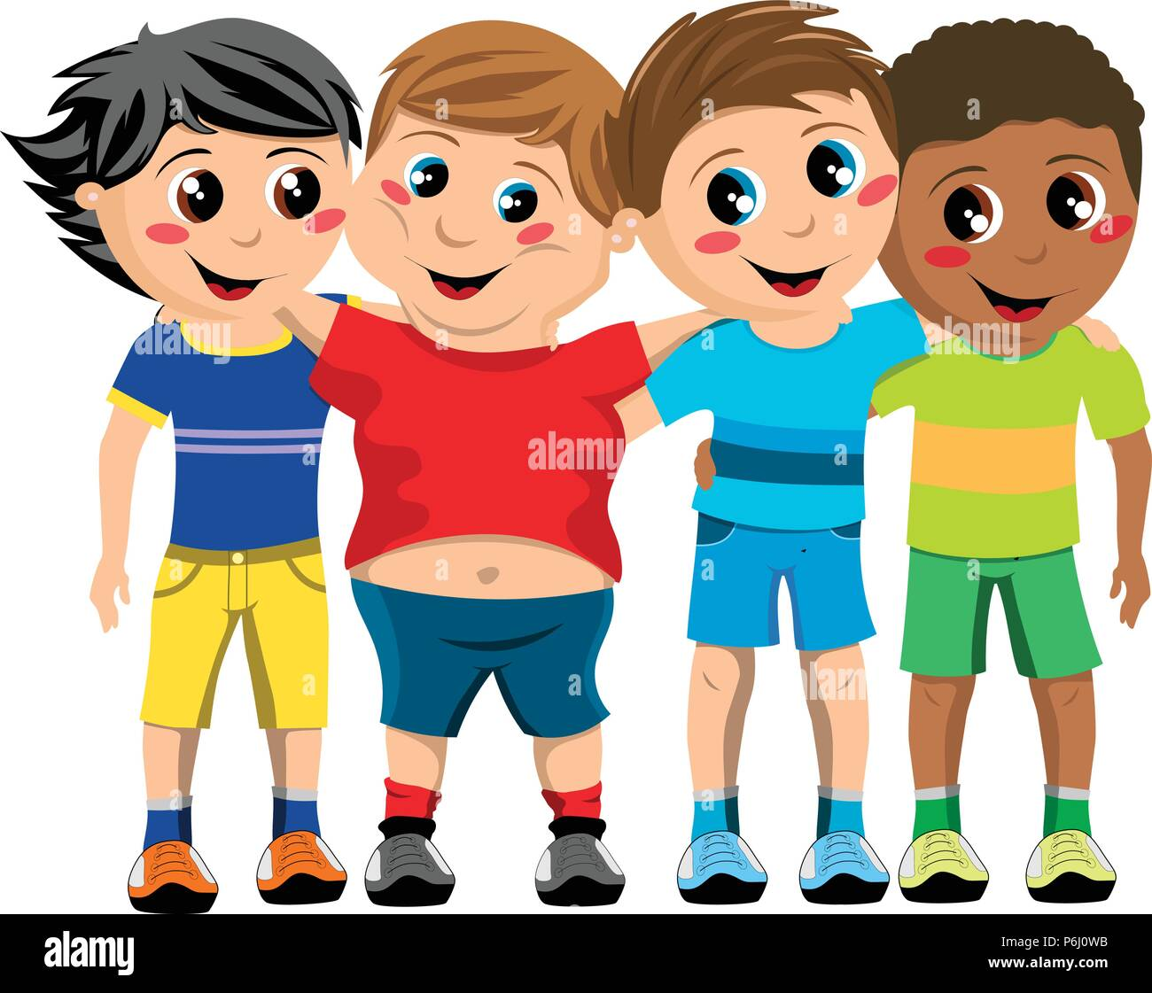Group of happy multicultural kids or children standing and hugging isolated - Stock Vector