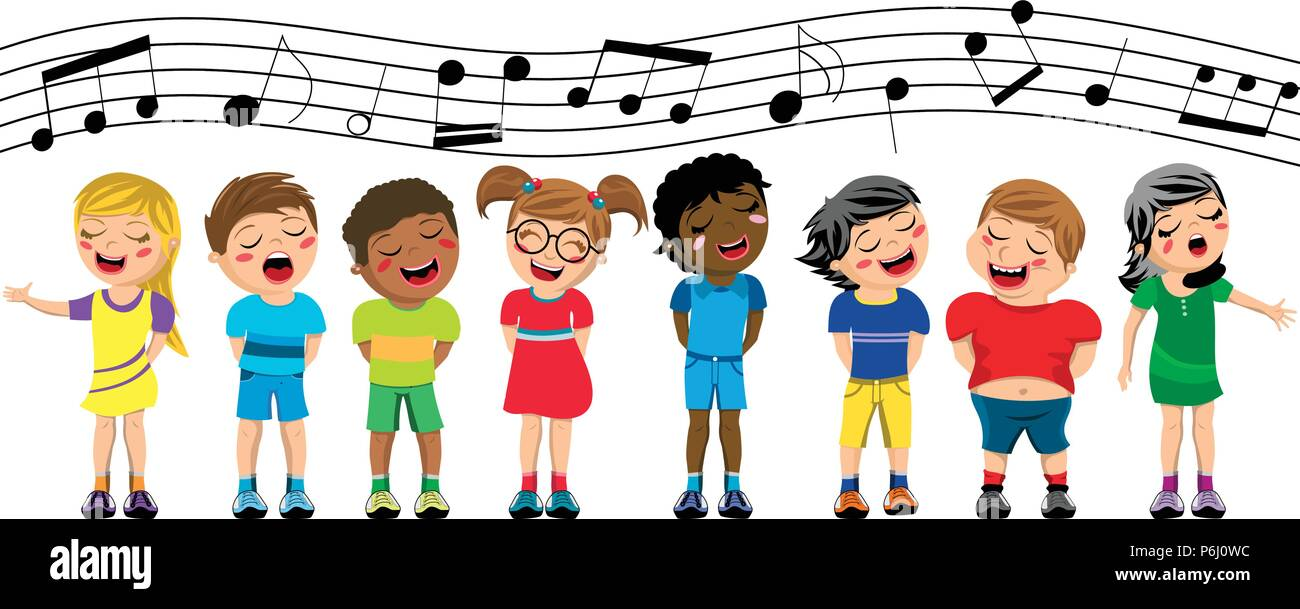 Happy multicultural kids or children standing and singing in a chorus isolated - Stock Vector