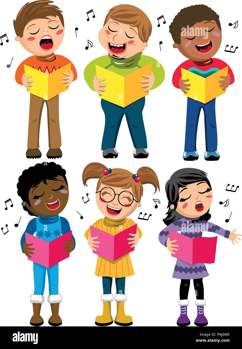 Happy multicultural kids or children standing and singing in a choir holding choir book isolated - Stock Vector