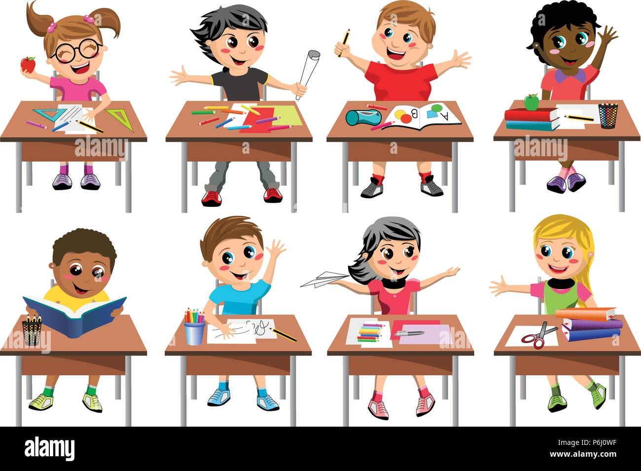 Happy kids or children sitting at desk school playing or drawing isolated - Stock Vector