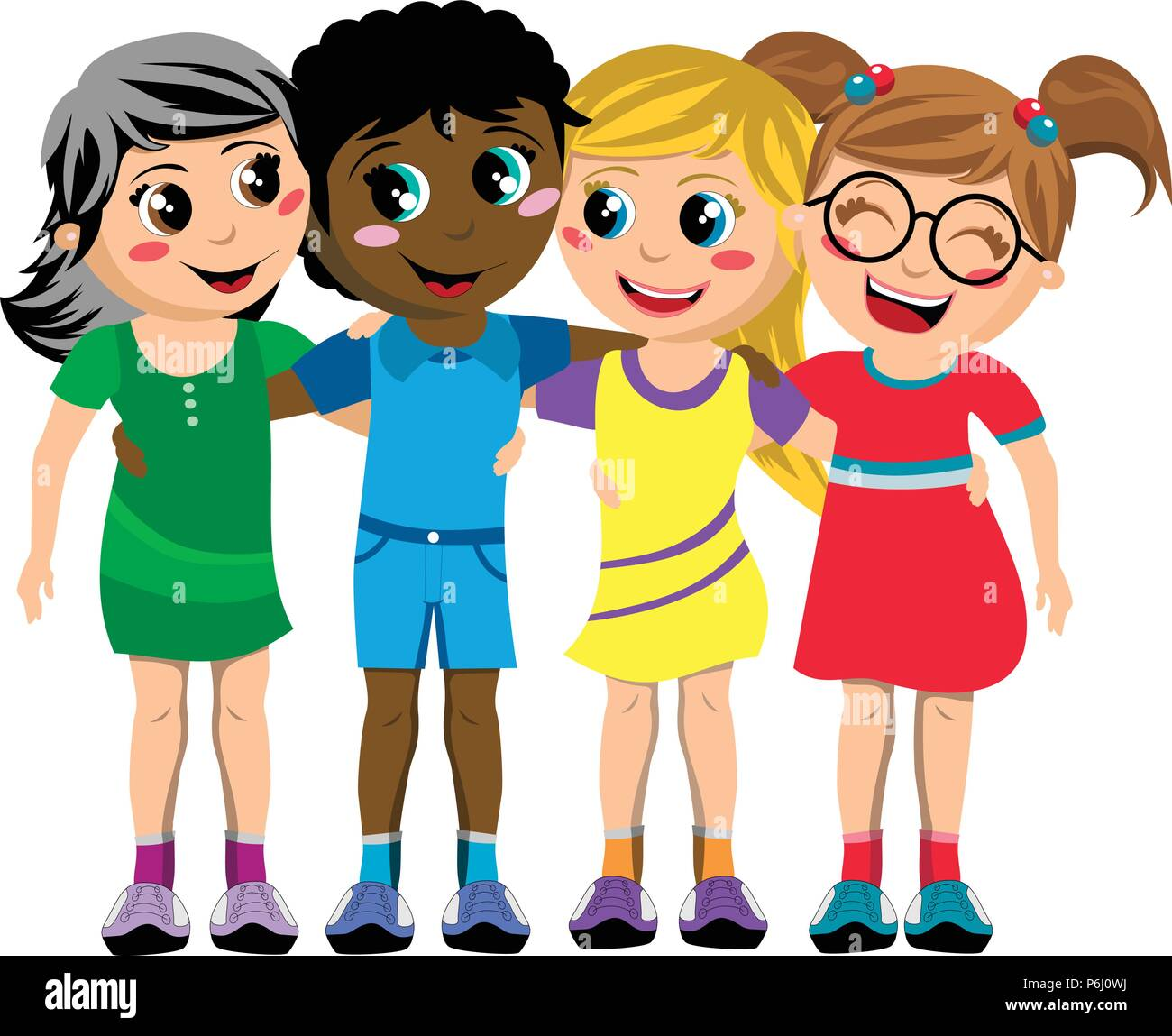 Group of happy multiculture kids or children standing and hugging isolated - Stock Vector