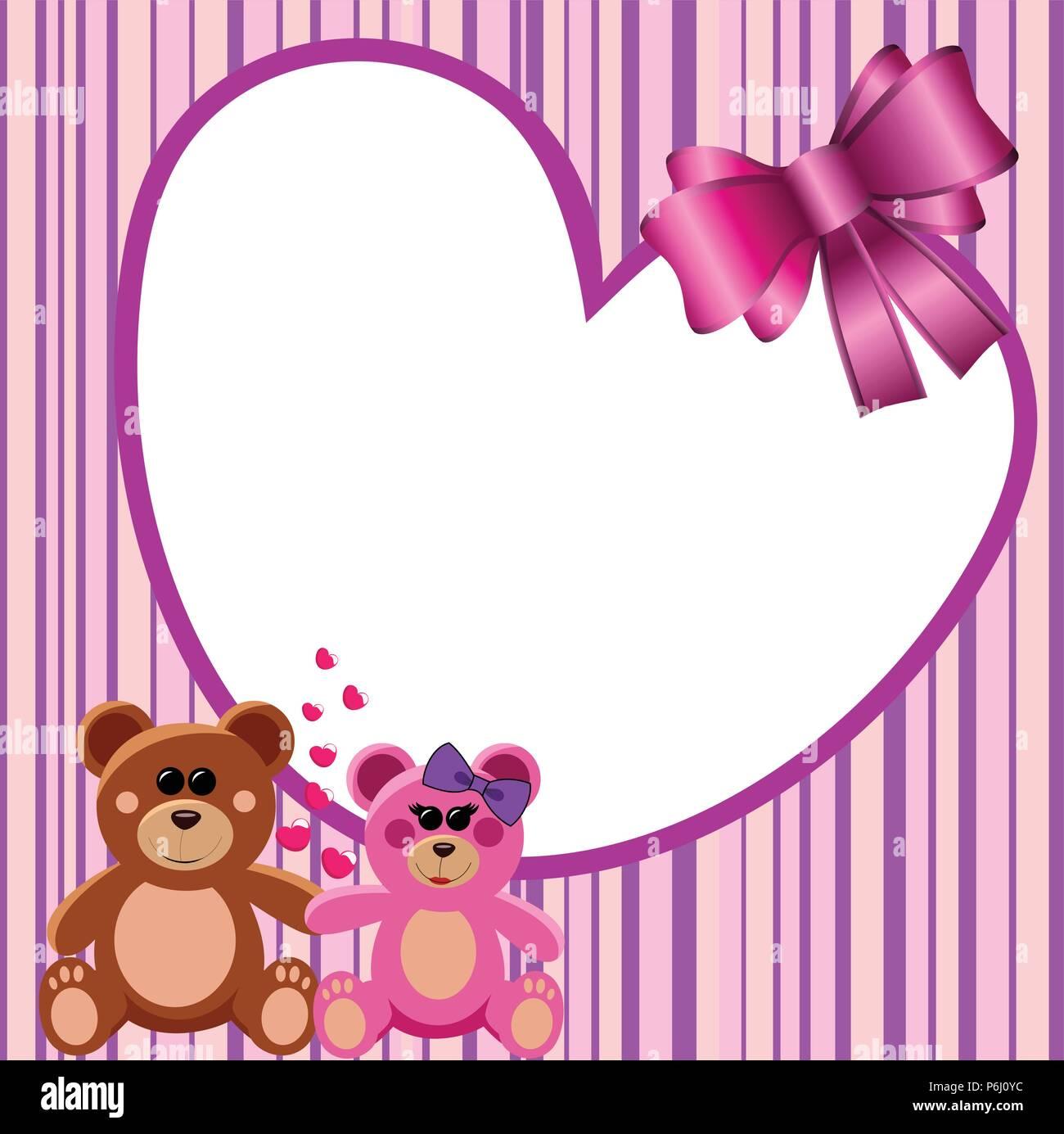 Love Heart Frame Teddy Bears Stock Vector Art & Illustration, Vector ...