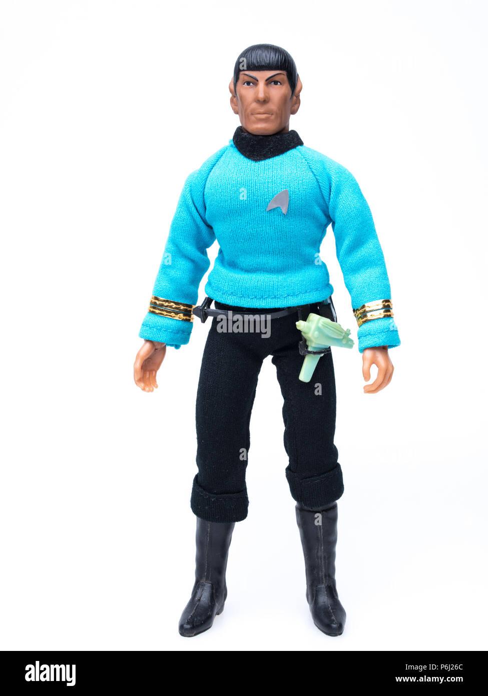 1974 MEGO Star Trek  Mr. Spock Action Figure with phaser and communicator. - Stock Image