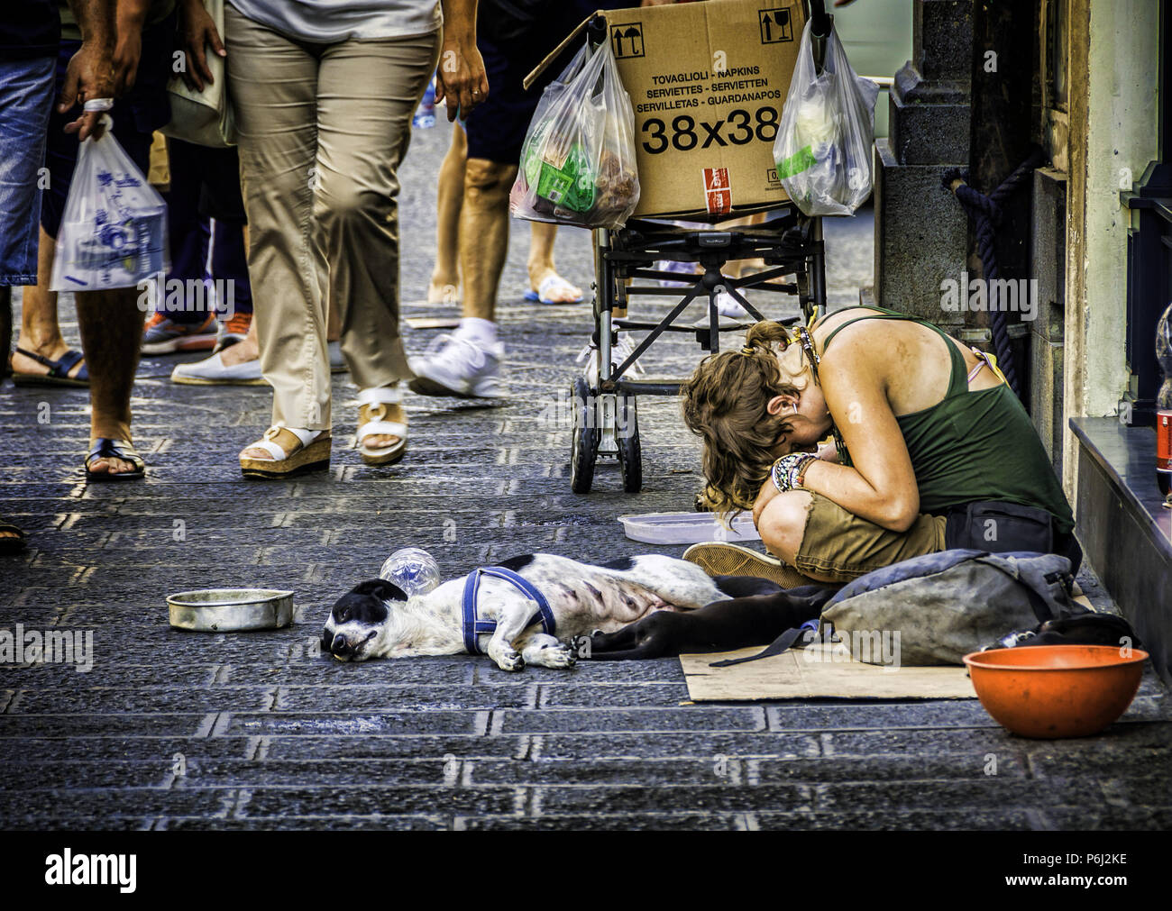 23 August 2014 - Sicily, Italy. Poor young homeless woman with the dog,  sitting and begging for money in the busy street of the coastal city of Catania - Stock Image