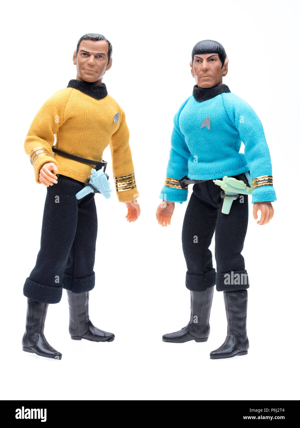 1974 MEGO Star Trek Captain Kirk and Mr. Spock Action Figure with phaser and communicator. - Stock Image