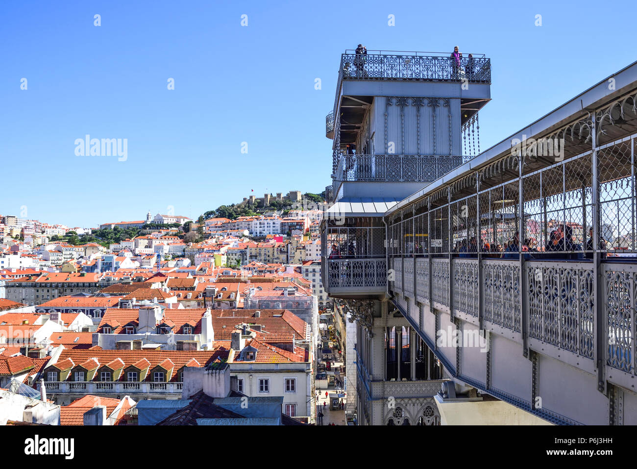 view of Lisbon from the top of the elevador de santa Justa lookout point. at the top the castle is known as Jorge Stock Photo