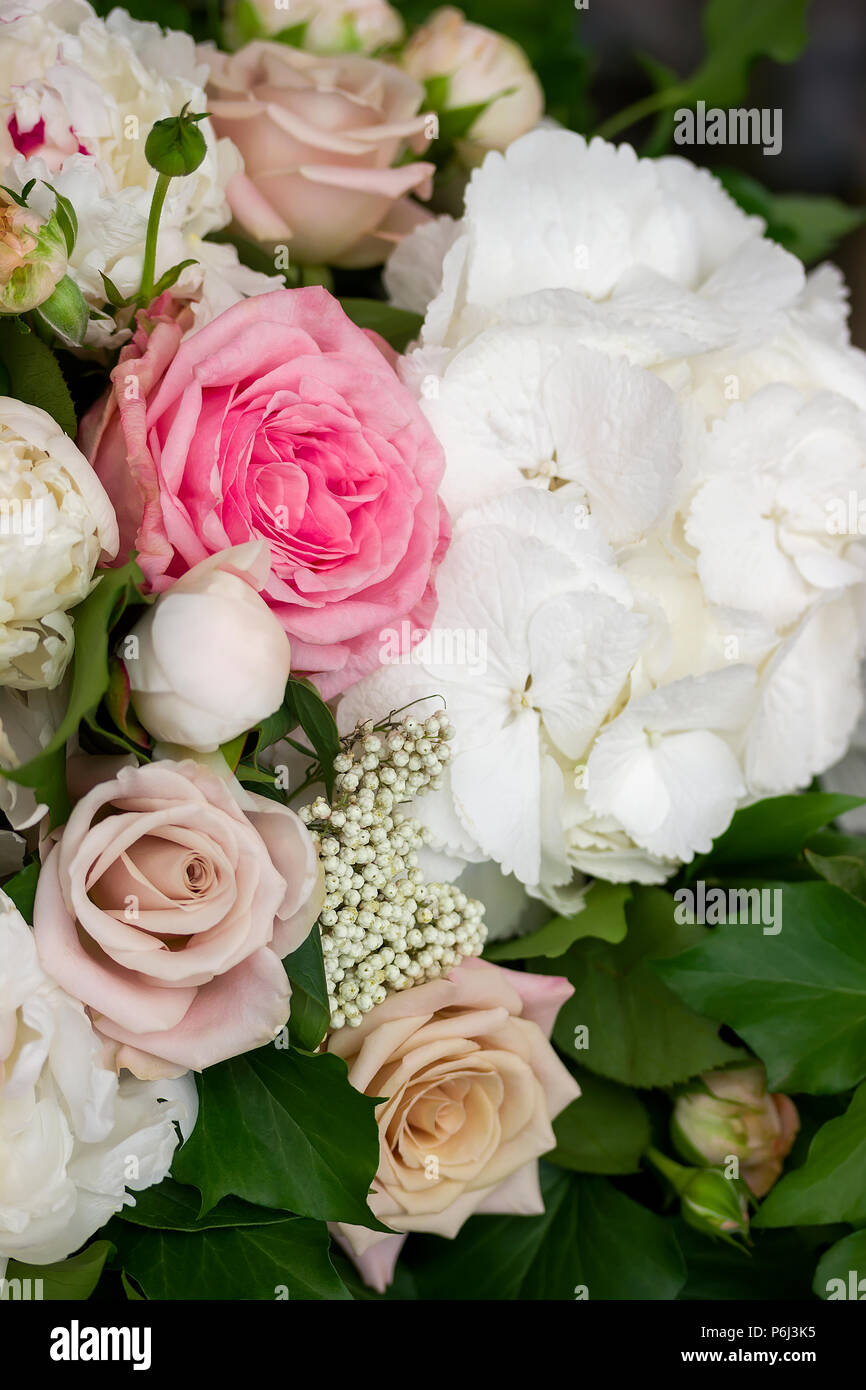 Roses And Peony Flowers Wedding Bouquet Decoration Stock Photo