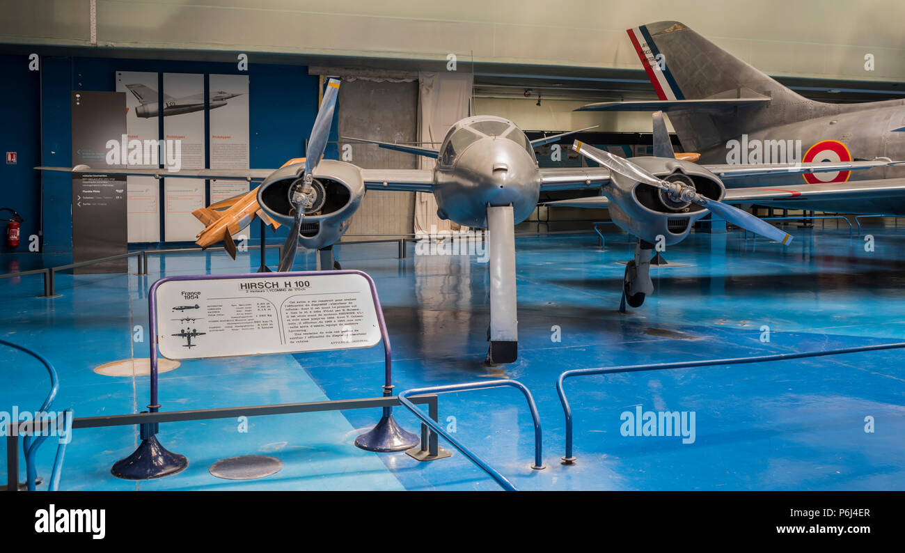 Le Bourget, Paris, France- May 04,2017: Hirsch H 100- experimental aircraft (1950s) built to test an aerodynamic gust suppression system in the Museum - Stock Image