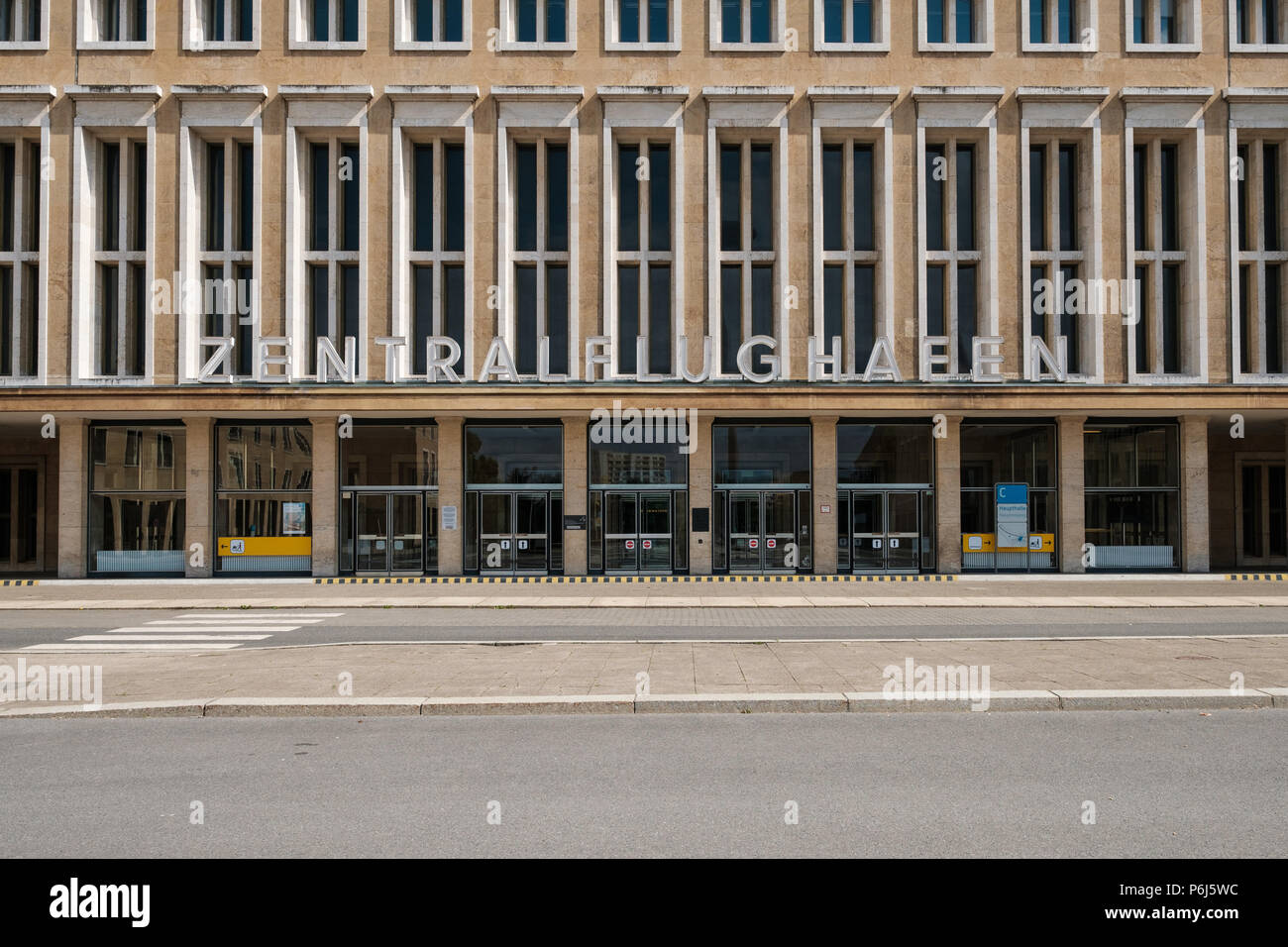 Berlin, Germany - june 2018: The Tempelhof International Airport / former airport building in Berlin, Germany - Stock Image