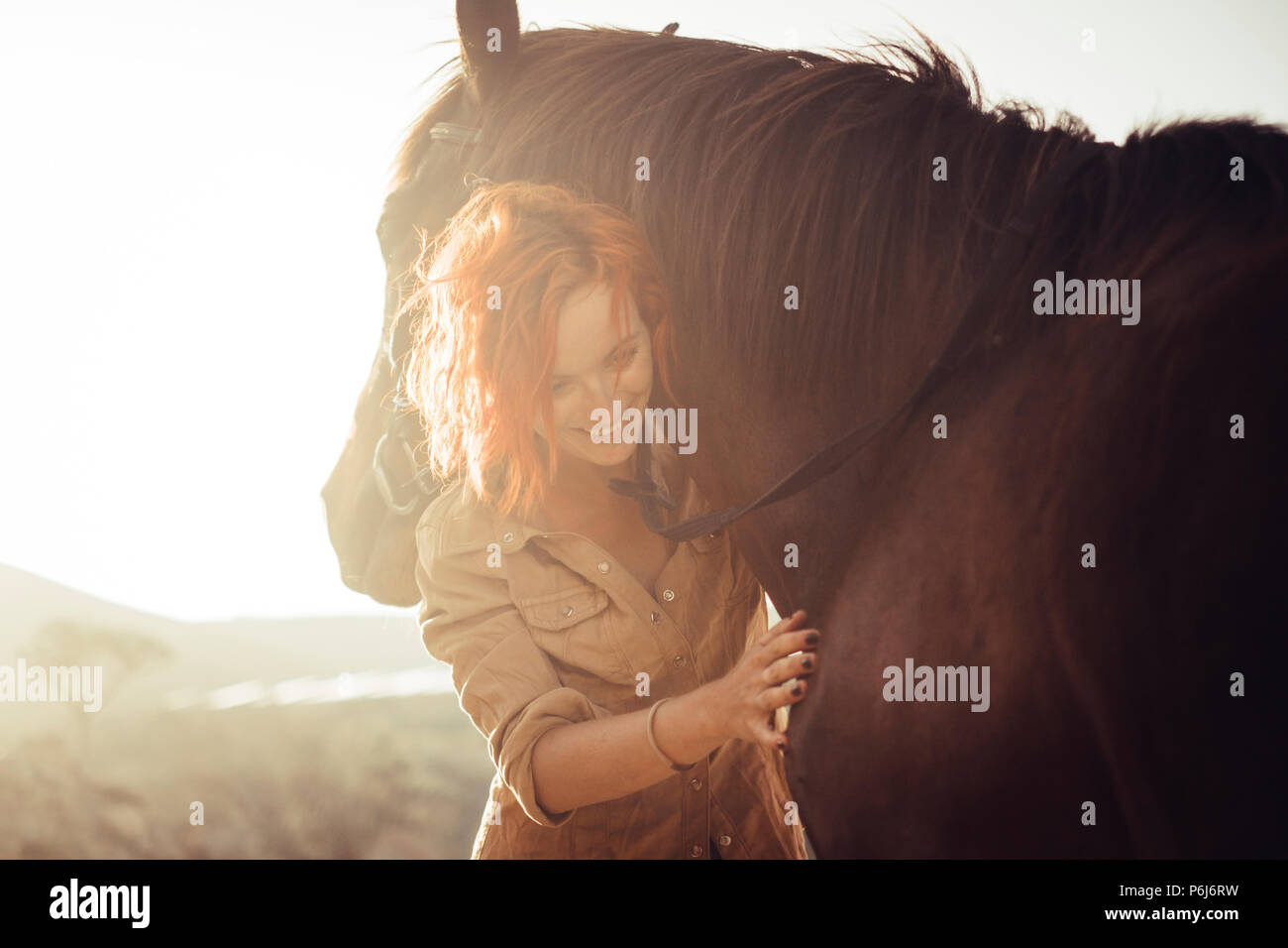 real love and friendship concept between nice beautiful caucasian lady and amazing horse. sunset time and backlight. sweetness and tenderness in horse - Stock Image