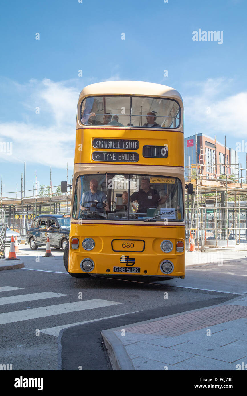 Leyland Atlantean LA680 at Partick Bus Station during an event organised by GVVT Glasgow celebrating 60 years of this bus model. - Stock Image