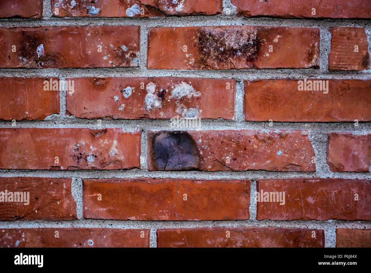 Brick Wall Of Red Color Horizontal Of Masonry Old Red Brick