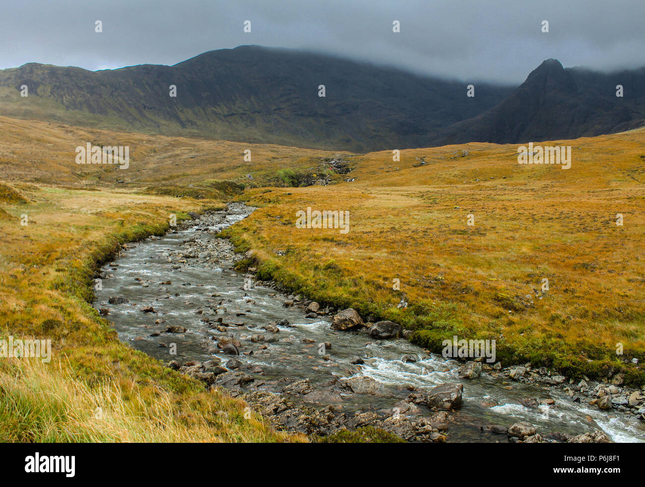 Photo of stream and mountains at the Fairy Pools, Isle of Skye, Scotland. - Stock Image