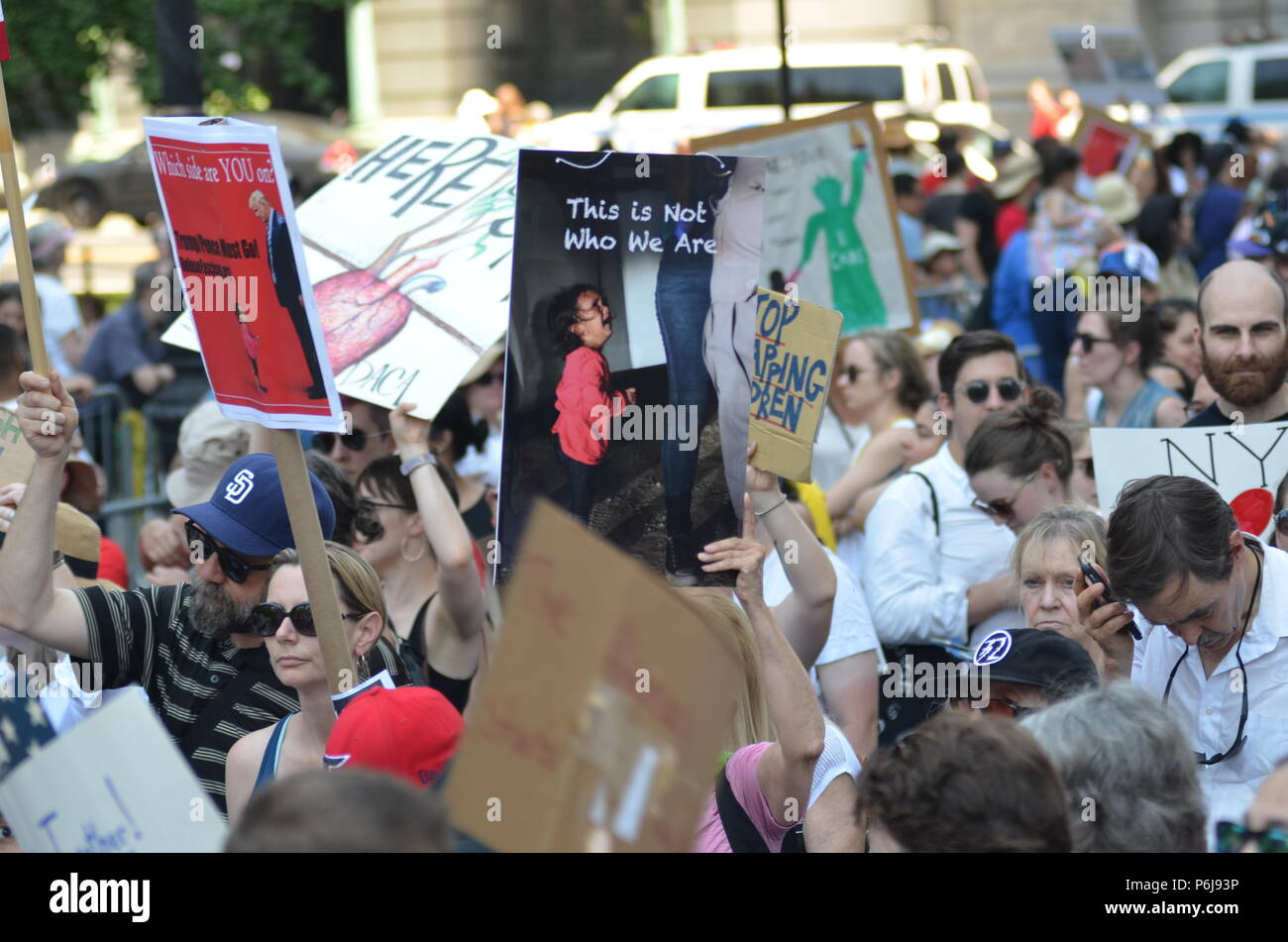Manhattan, New York, USA. 30th June, 2018. Thousands of demonstrators and immigrant rights activists gathered at Foley Square in Lower Manhattan for the rally against ICE and immigrants deportation to keep families together. Credit: Ryan Rahman/Alamy Live News - Stock Image