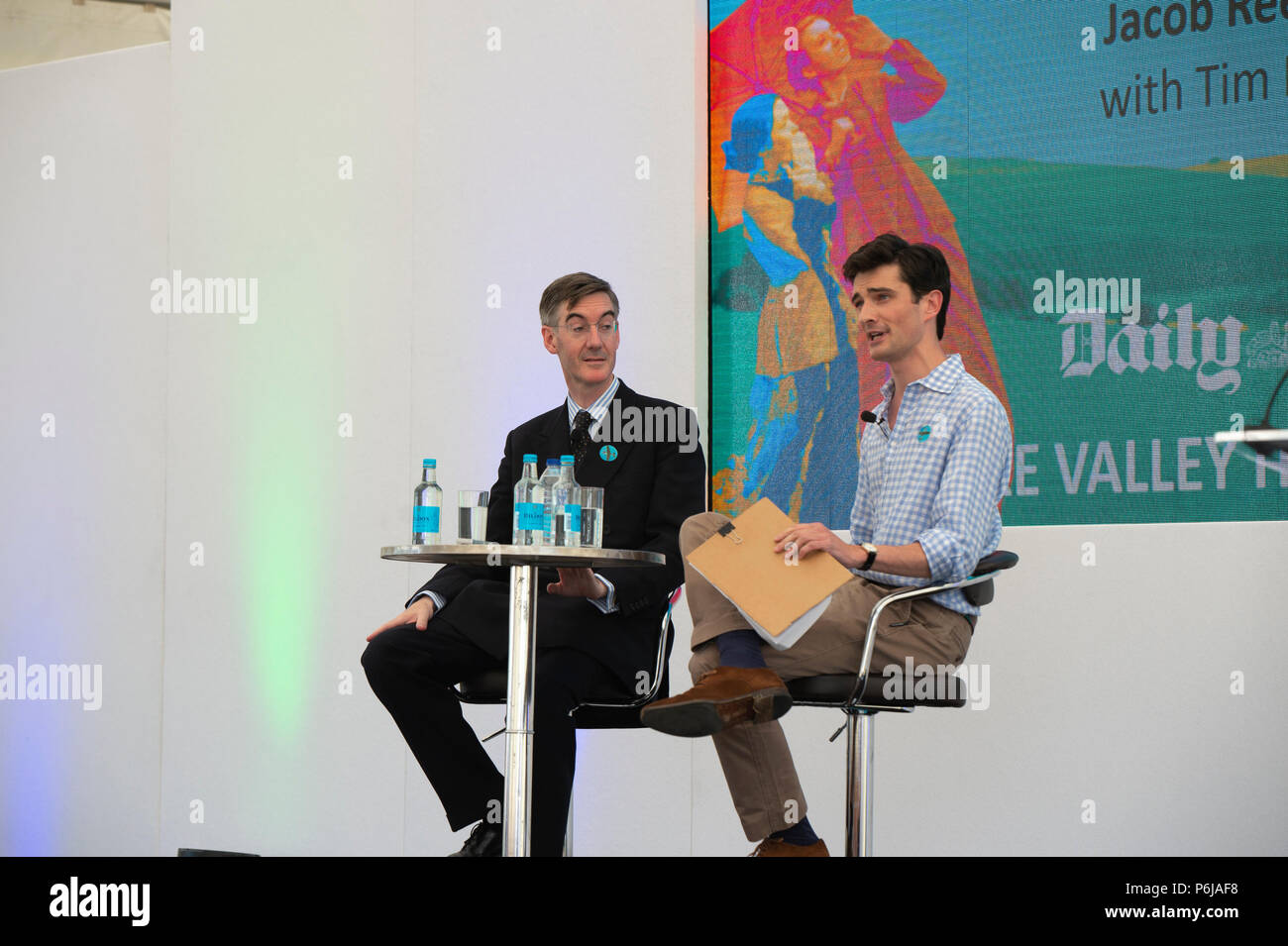 Chalke Valley, Wiltshire,  UK, 30 June 2018, Jacob Rees-Mogg talks about Politics and History at the Chalke Valley History Festival, Guy Peterson/Alamy Live News - Stock Image