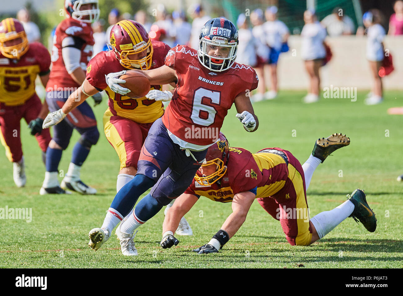 Chur, Switzerland. 30th June 2018. Erik Rageth during the American Football Swiss Bowl Play-of Game Calanda Broncos vs. Winterthur Warriors. Credit: Rolf Simeon/Alamy Live News - Stock Image