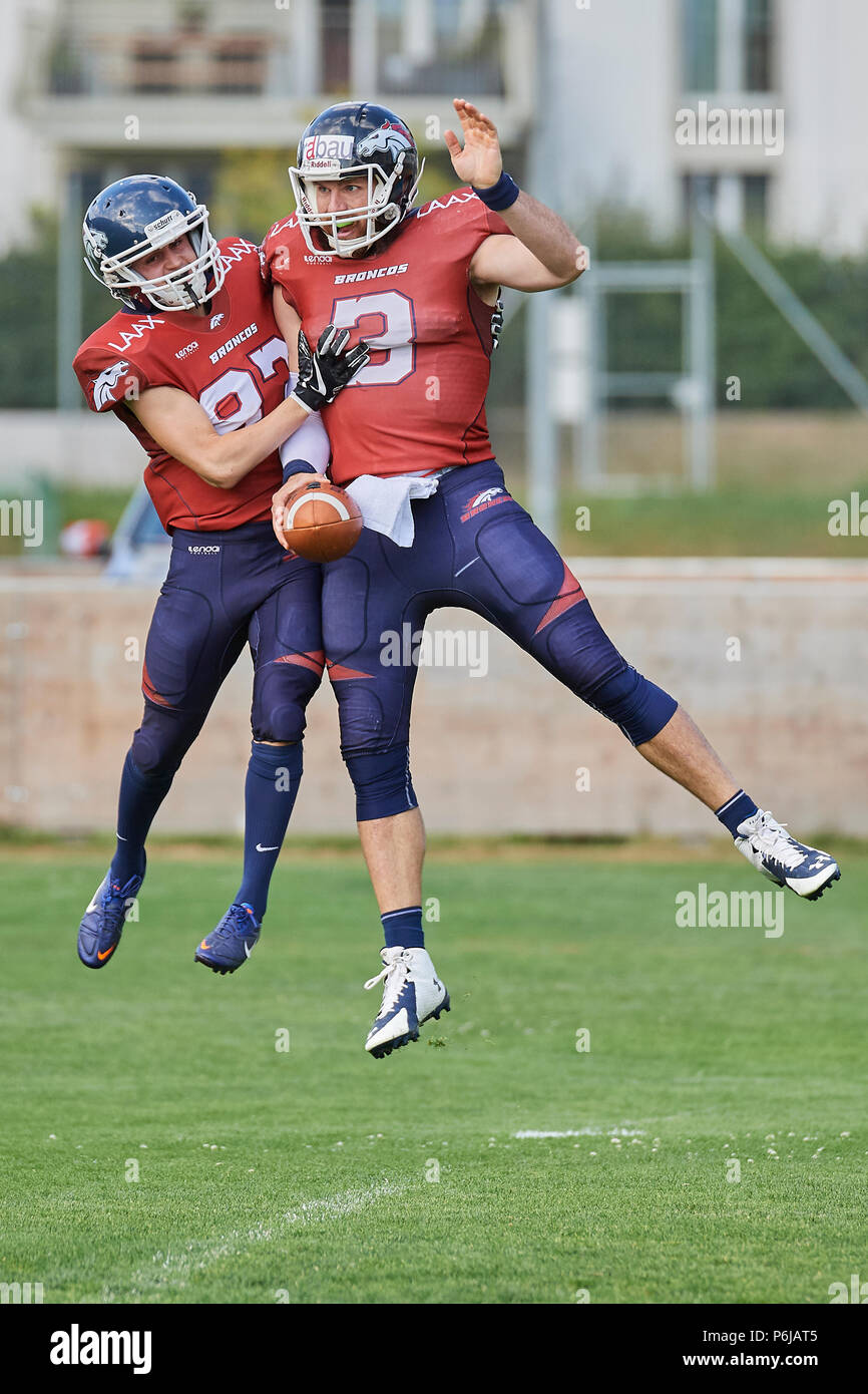 Chur, Switzerland. 30th June 2018. Broncos celebrate a Touch Down during the American Football Swiss Bowl Play-of Game Calanda Broncos vs. Winterthur Warriors. Credit: Rolf Simeon/Alamy Live News - Stock Image