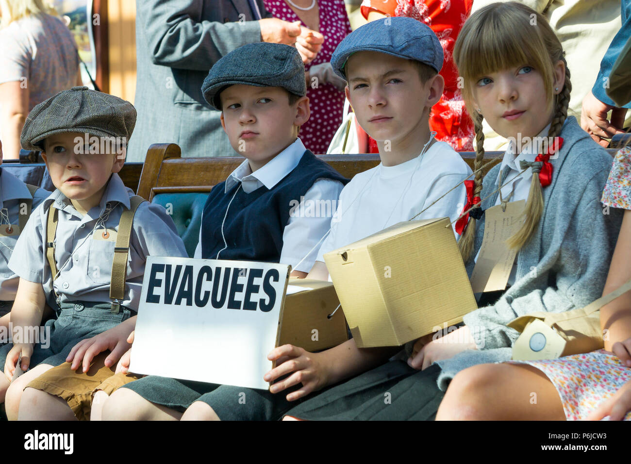 Kidderminster, UK. 30th June, 2018. A journey back in time begins on the Severn Valley Railway as all involved turn the clock back to the 1940s. Visitors and staff pull out all the stops to ensure a realistic wartime Britain is experienced by all on this heritage railway line. Credit: Lee Hudson/Alamy Live News Stock Photo