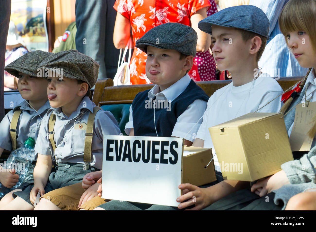 Kidderminster, UK. 30th June, 2018. A journey back in time begins on the Severn Valley Railway as all involved turn the clock back to the 1940s. Visitors and staff pull out all the stops to ensure a realistic wartime Britain is experienced by all on this heritage railway line. Credit: Lee Hudson/Alamy Live News - Stock Image