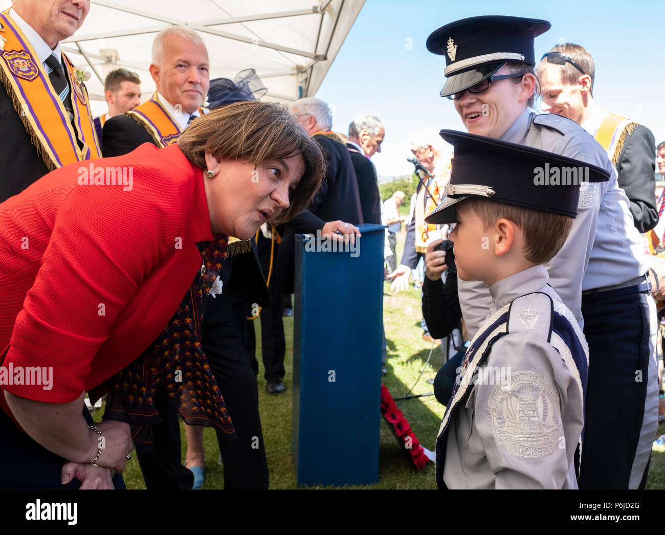 Cowdenbeath, Scotland, UK. 30 June, 2018. More than 4000 marchers take part in annual Battle of the Boyne Orange Walk in Cowdenbeath, Fife. The walk was attended by DUP leader Arlene Foster. Credit: Iain Masterton/Alamy Live News - Stock Image
