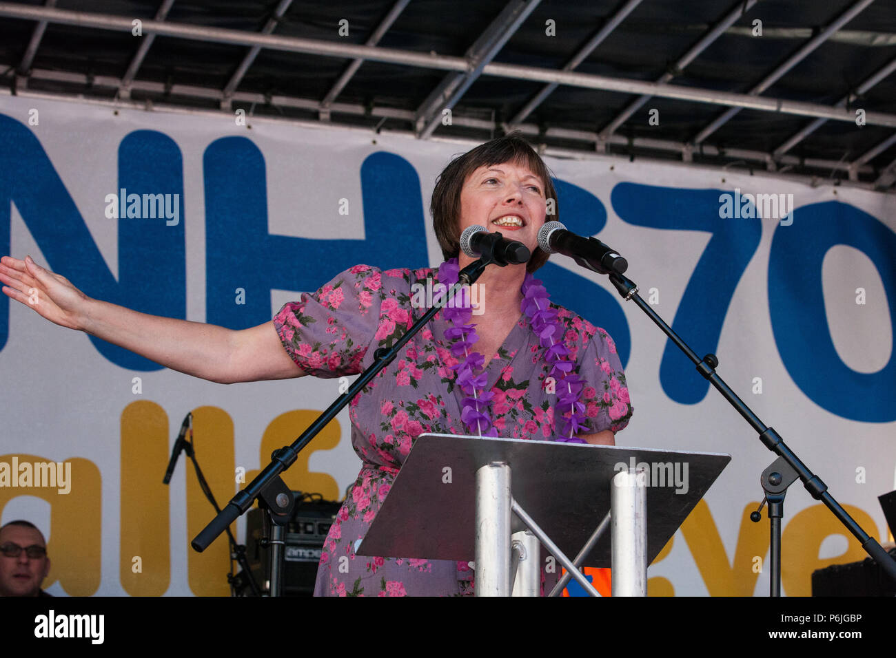 London, UK. 30th June 2018. Frances O'Grady, General Secretary of the Trades Union Congress, addresses thousands of people, including many nurses, doctors and health workers, taking part in a rally to mark the 70th birthday of the National Health Service (NHS) and to demand an end to cuts to and privatisation of public services. The event was organised by the People's Assembly Against Austerity, Health Campaigns Together, the TUC and eleven other health trade unions. Credit: Mark Kerrison/Alamy Live News - Stock Image