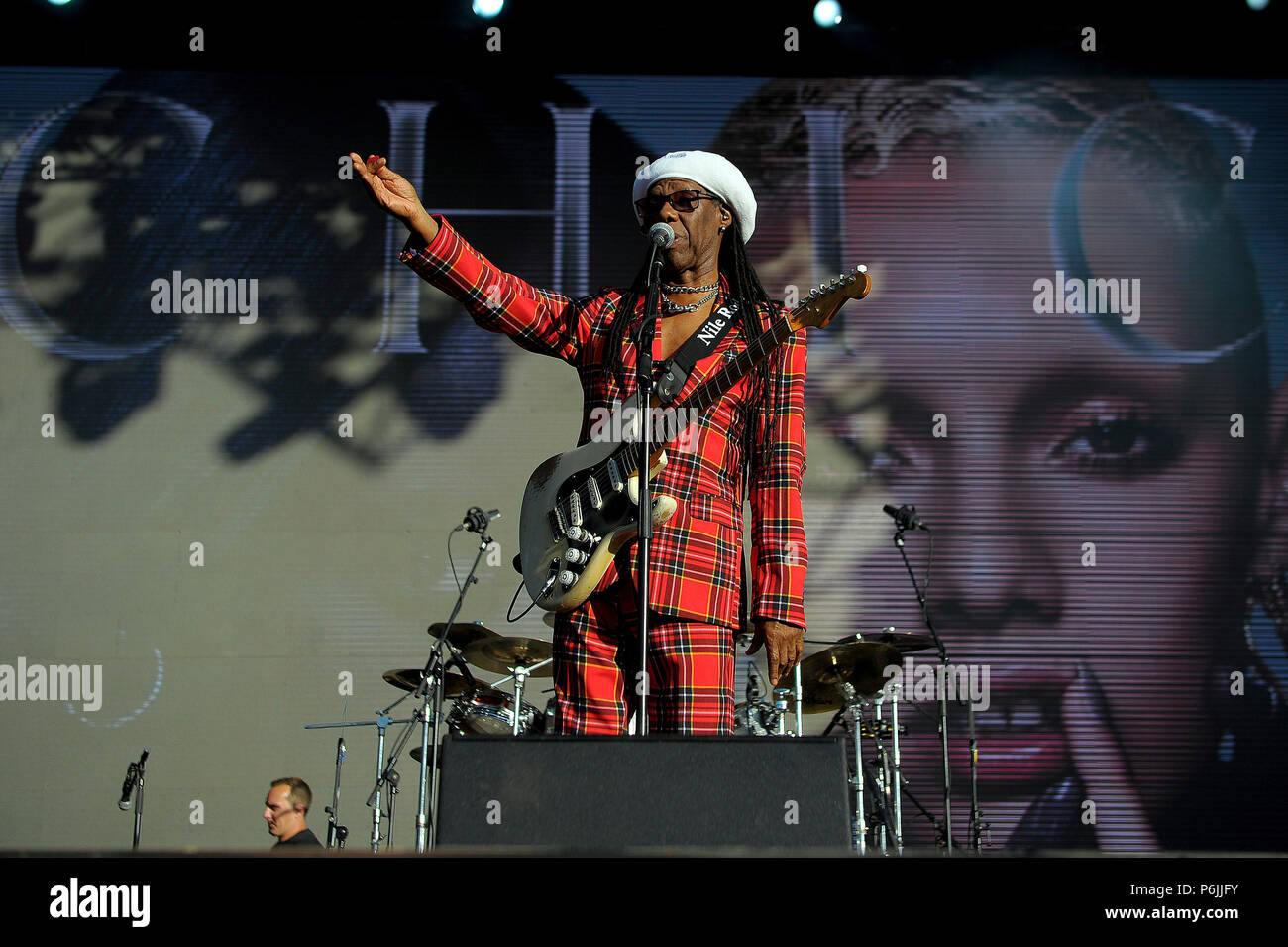Glasgow, UK. 30th Jun, 2018. Fiesta X FOLD Festival Glasgow Glasgow.   The inaugural Fiesta X FOLD Festival in Kelvingrove Park, Glasgow.  Nile Rogers performs on the Main Stage on Saturday 30th June 2018   Picture © Andy Buchanan Credit: Andy Buchanan/Alamy Live News Stock Photo