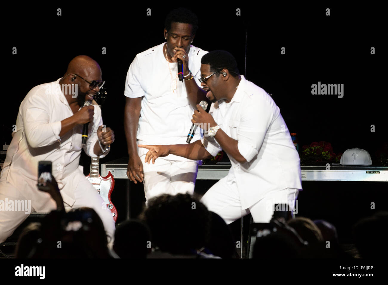 Philadelphia, Pennsylvania, USA. 30th June, 2018. WANYA MORRIS, NATHAN MORRIS and SHAWN STOCKMAN, of BOYZ II MEN, performing at the Mann Center during the Jill Scott block party concert in Philadelphia PA Credit: Ricky Fitchett/ZUMA Wire/Alamy Live News - Stock Image