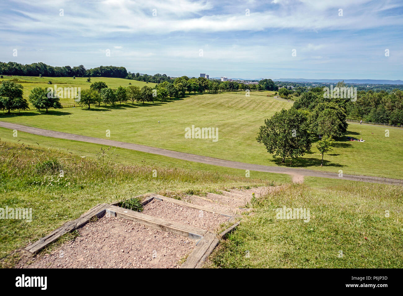 View from front of Chatelherault Estate towards Chatelherault Country Park Ferniegair Hamilton Lanarkshire Scotland UK - Stock Image