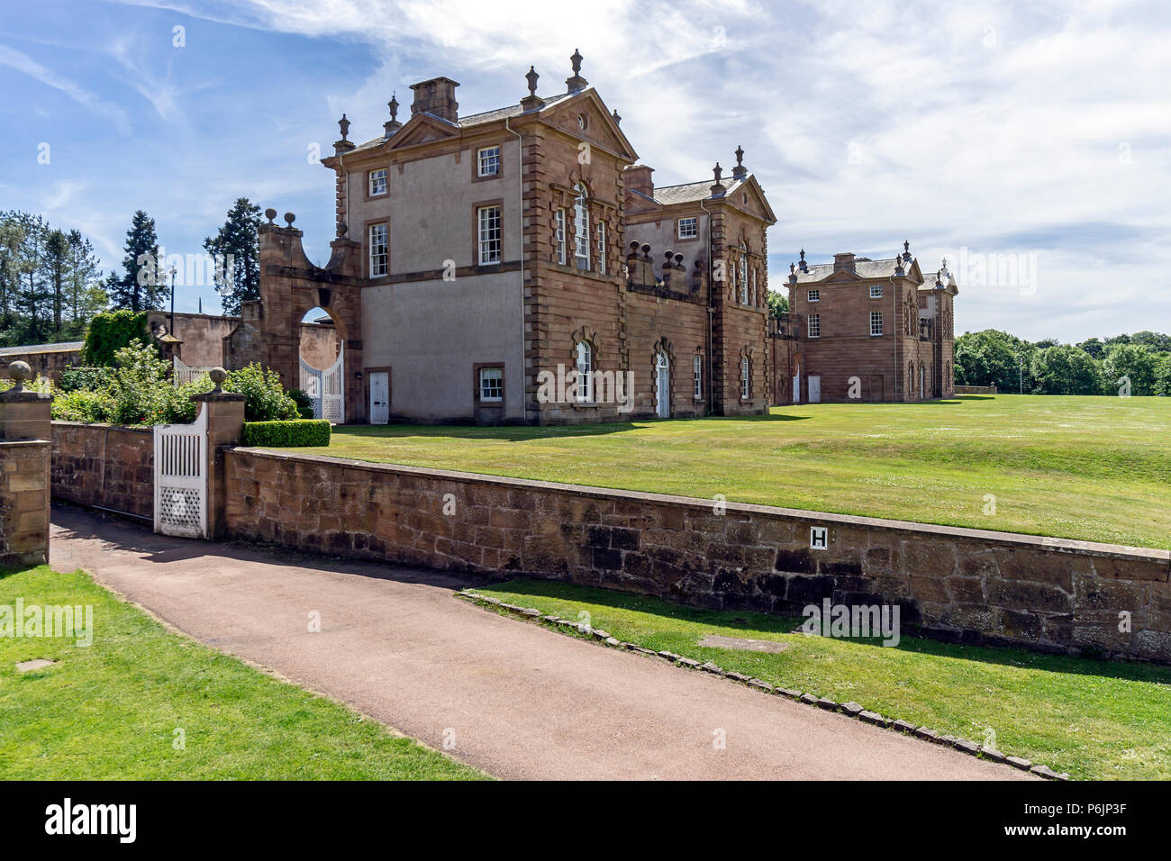 Side view from east of Chatelherault Estate in Chatelherault Country Park Ferniegair Hamilton Lanarkshire Scotland UK - Stock Image