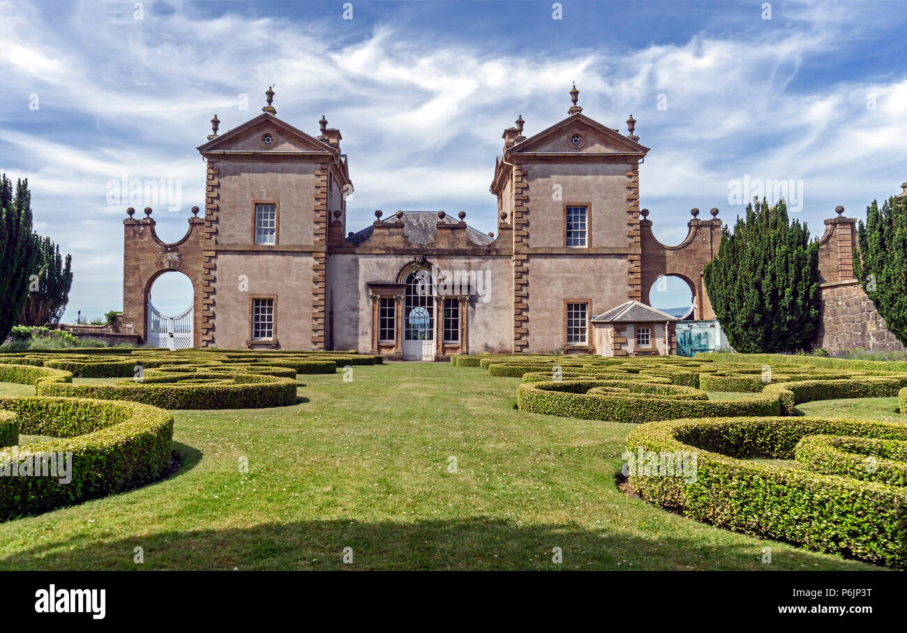 Formal garden viev at rear of Chatelherault Estate in Chatelherault Country Park Ferniegair Hamilton Lanarkshire Scotland UK - Stock Image