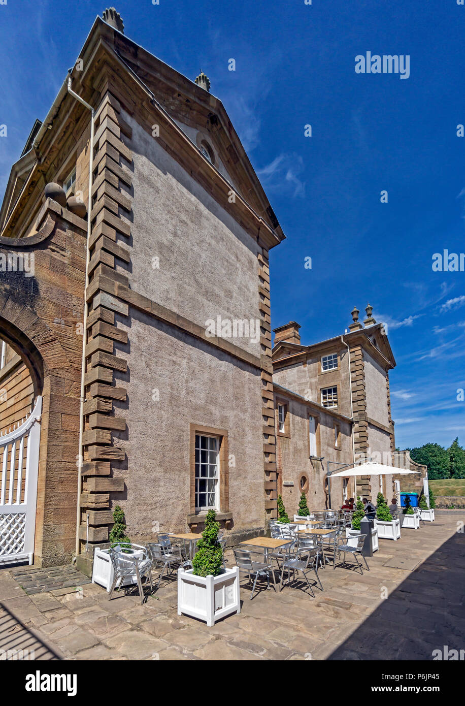 Rear view of Chatelherault Estate in Chatelherault Country Park Ferniegair Hamilton Lanarkshire Scotland UK with outside cafe seating - Stock Image