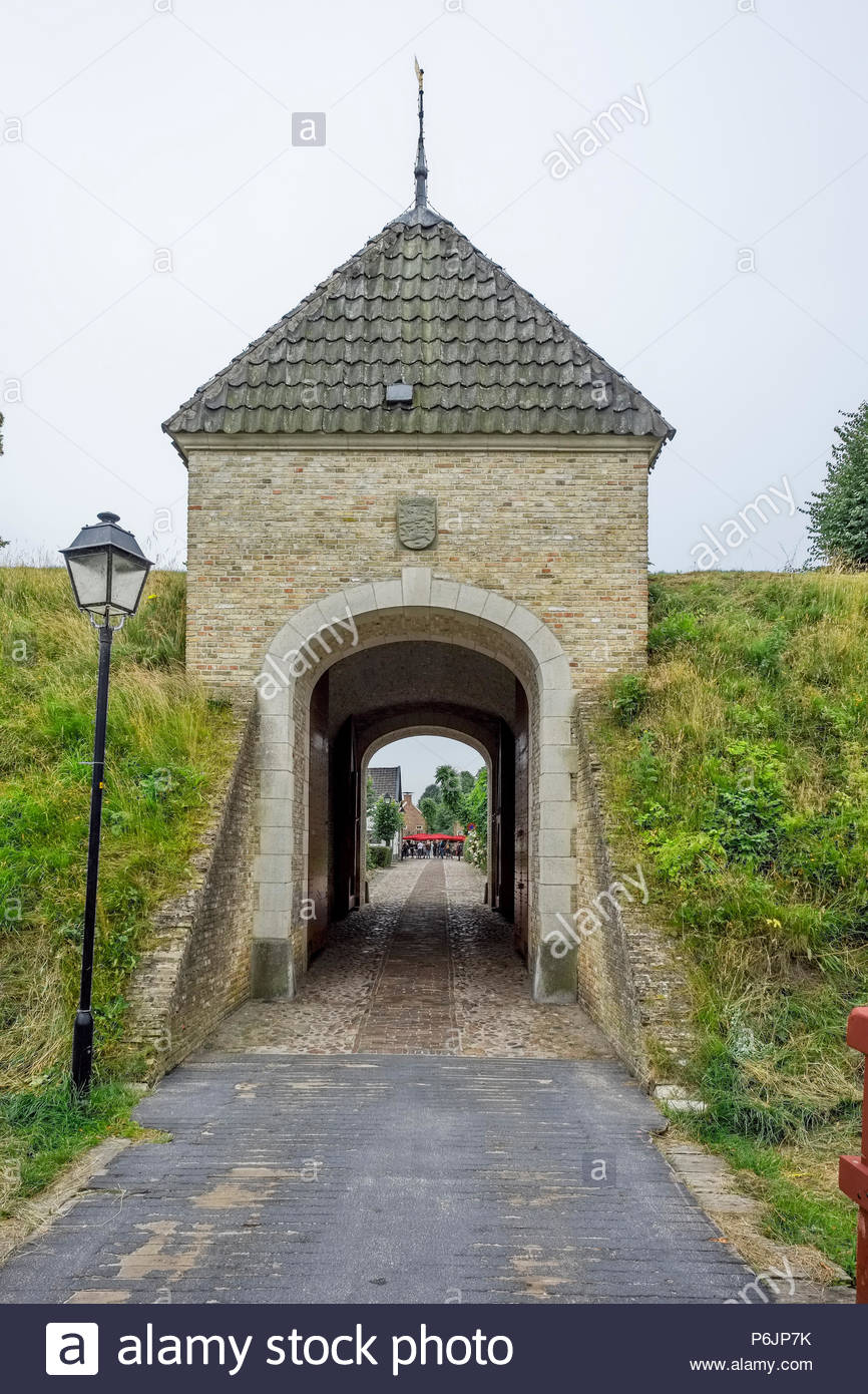 Entrance to Vesting Bourtange, the star-shaped fortress in Groningen Province, The Netherlands - Stock Image