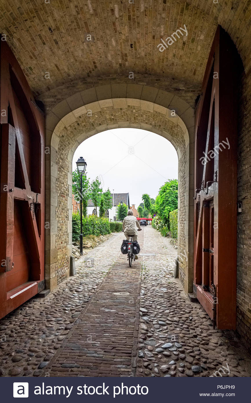 Entrance to Vesting Bourtange, the star-shaped fortress in Groningen Province, The Netherlands Stock Photo