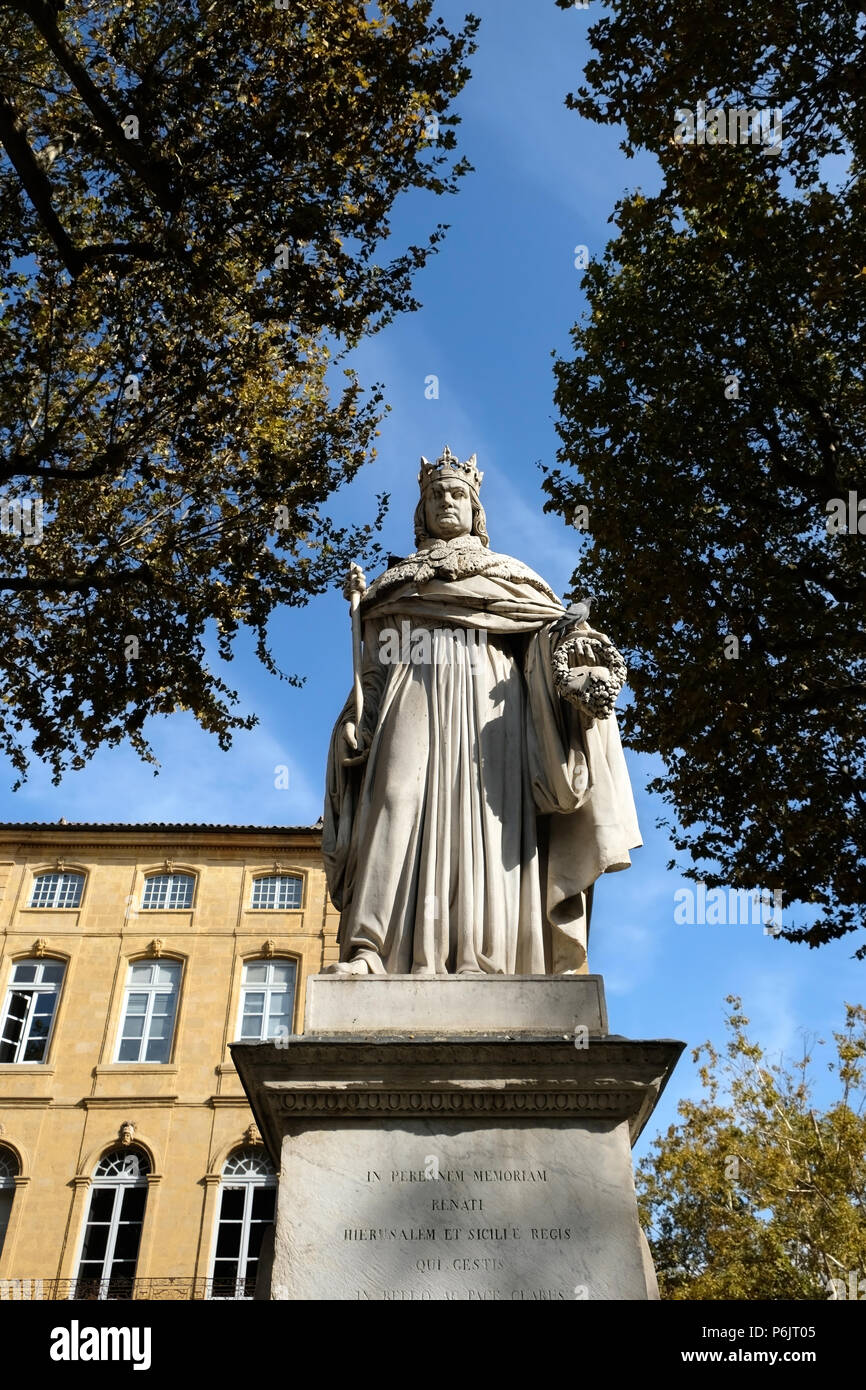 Aix-en-Provence, France - October 19, 2017 : the famous statue of King Roi Renee situated at the top of the main Cours Mirabeau market street - Stock Image