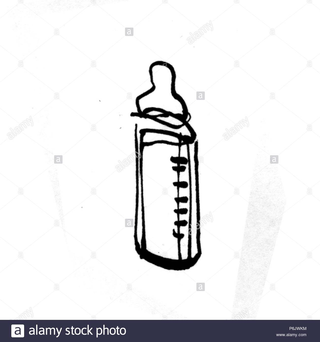 B W Symbols Baby Bottle Stock Photo 210627640 Alamy