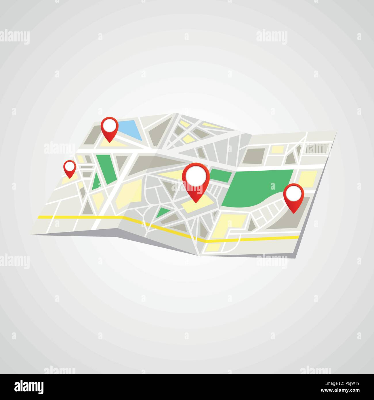 Folded Map with Point Markers - Stock Vector