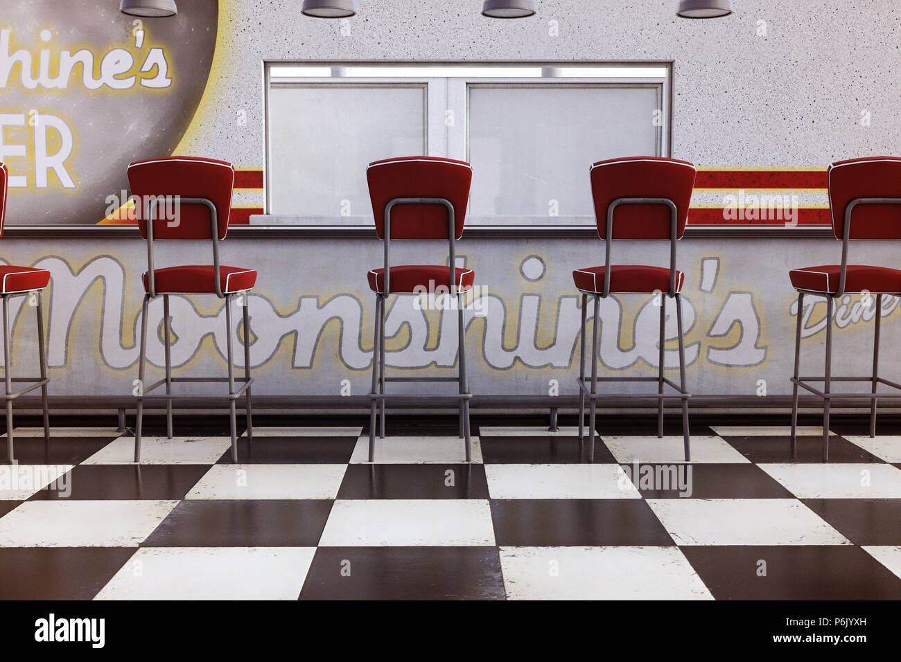 Vintage Diner Counter With Red Stools And Checked Floor 3d Render Stock Photo Alamy