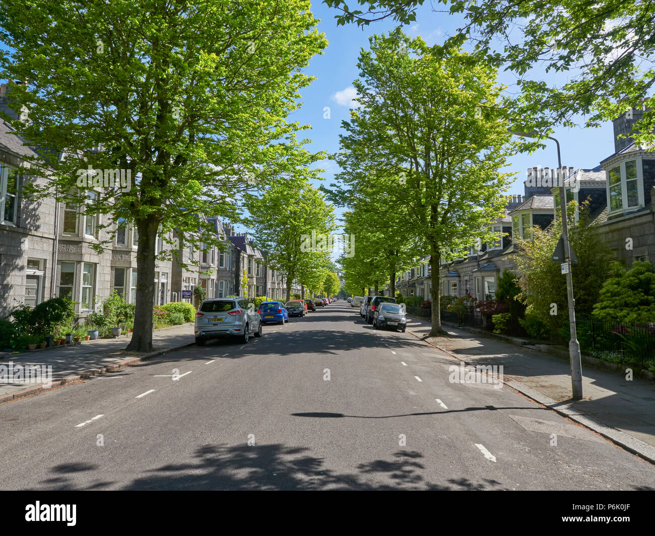 The shaded pavements of an Aberdeen City Tree lined street, with cars parked outside Residents Houses on a Summers Morning. Aberdeen, Scotland. - Stock Image