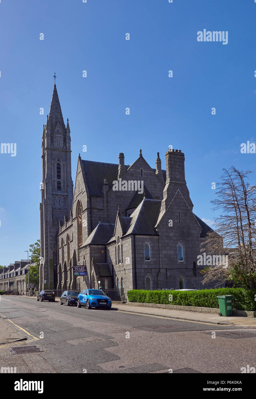 An Old Granite Church Building converted into Offices on the Queens Road in the Granite City of Aberdeen in Aberdeenshire, Scotland. - Stock Image