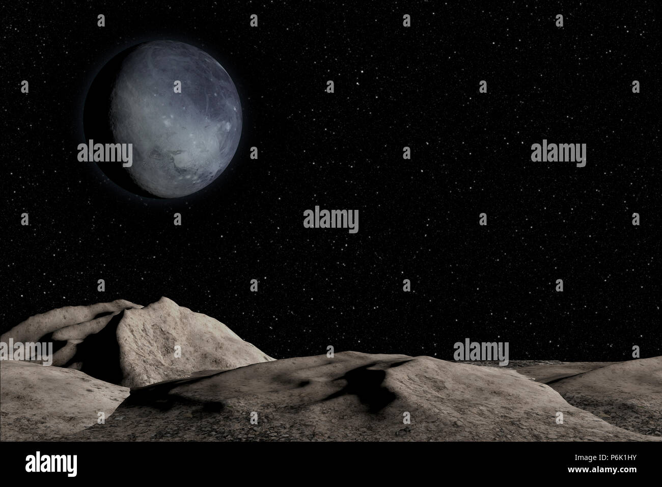 Unknown planet, stars and nebula in outer space. - Stock Image