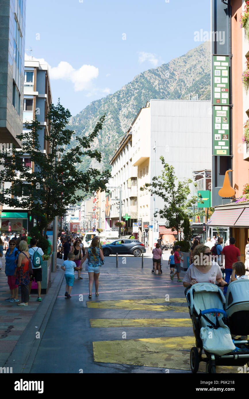 Andorra la Vella, Andorra - August 14, 2017: Andorra is the country with the smallest trade taxes. It is a tourist and commercial center of Europe. Stock Photo