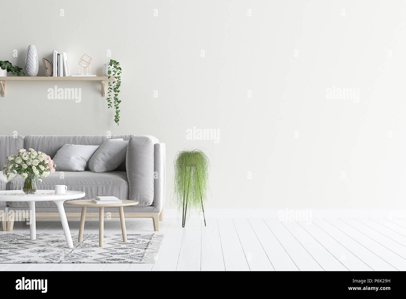 Living Room Interior Wall Mock Up With Grey Velvet Sofa And