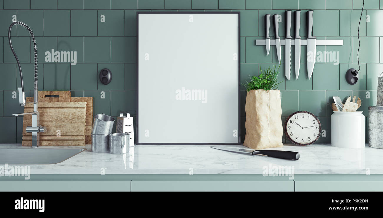 Modern Kitchen Interior With Empty Banner Mock Up 3d Render Stock