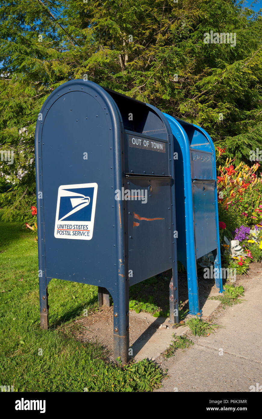 United States Postal Service box in Stockbridge, Berkshire County, Massachusetts, USA - Stock Image