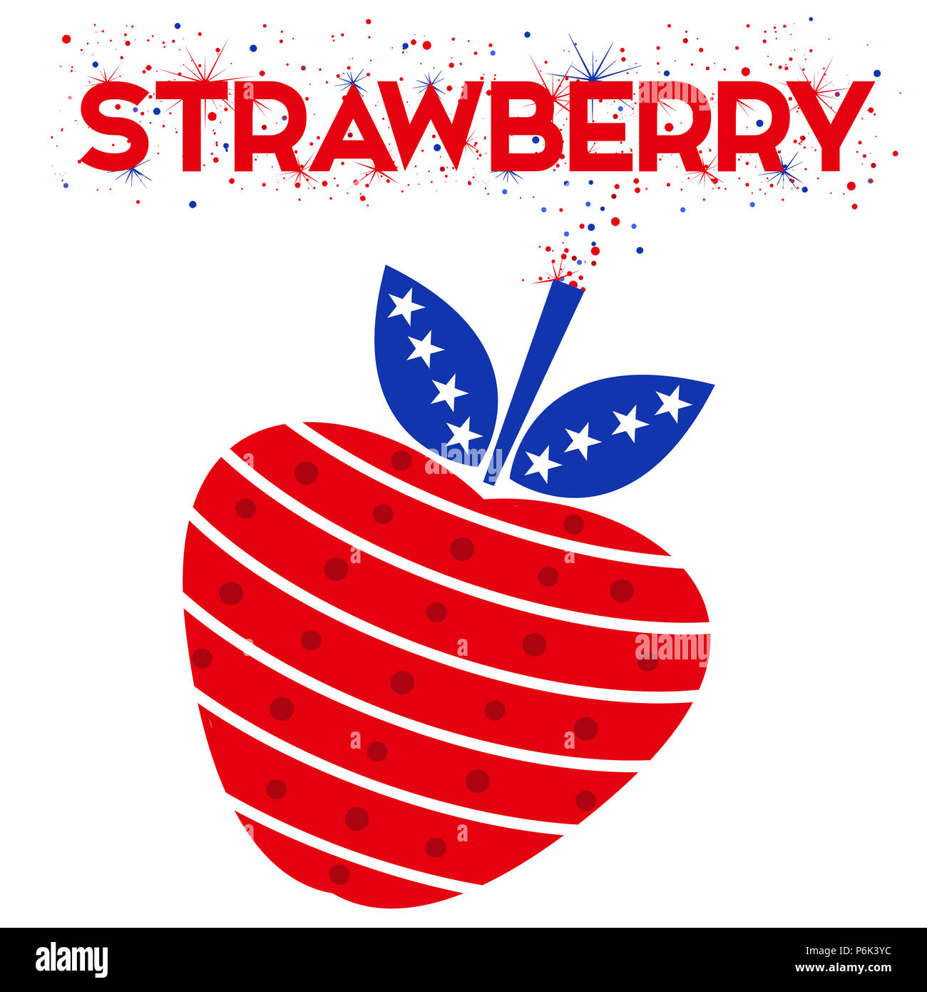Illustration of a strawberry as a firecracker. Red, white and blue colors in a stars and stripes pattern. Holiday, modern, exciting. - Stock Image