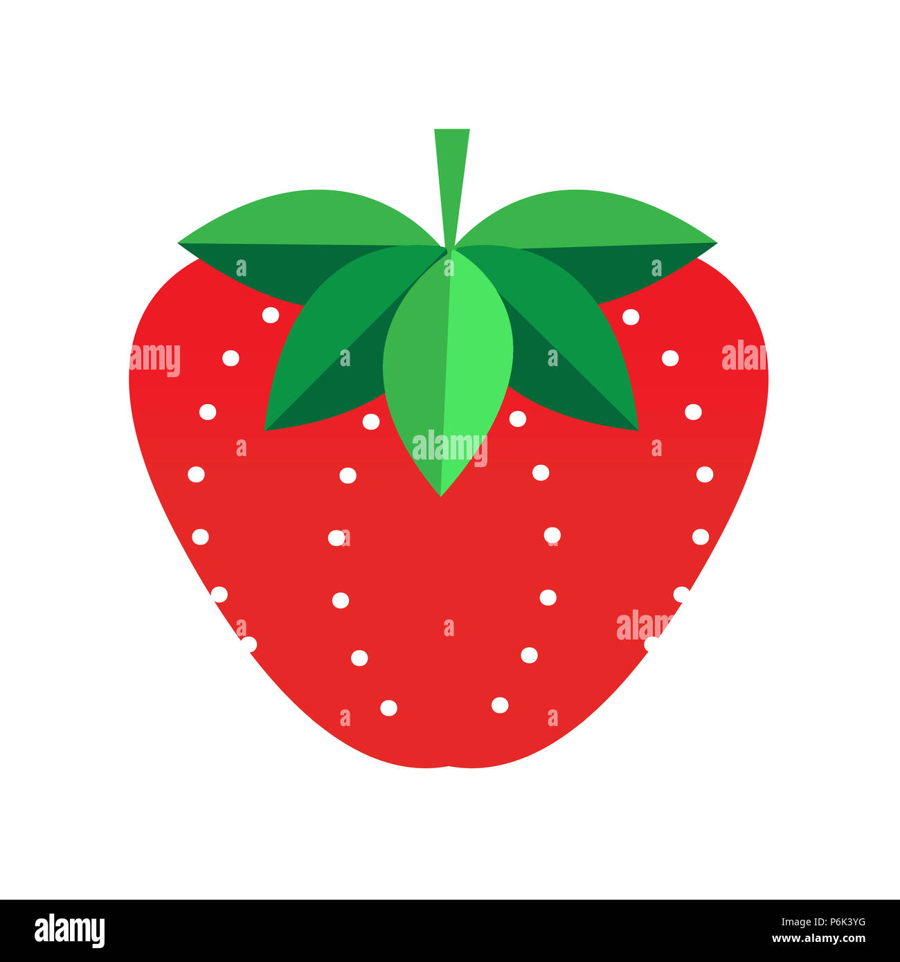 Illustration of a strawberry against a white background. Stylized leaf and seed patterns. Modern, fresh, fun. - Stock Image