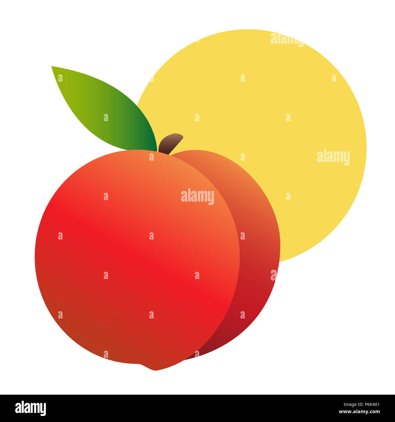 Illustration of a realistic peach against a yellow sun. White background. Summery, fresh, modern. - Stock Image