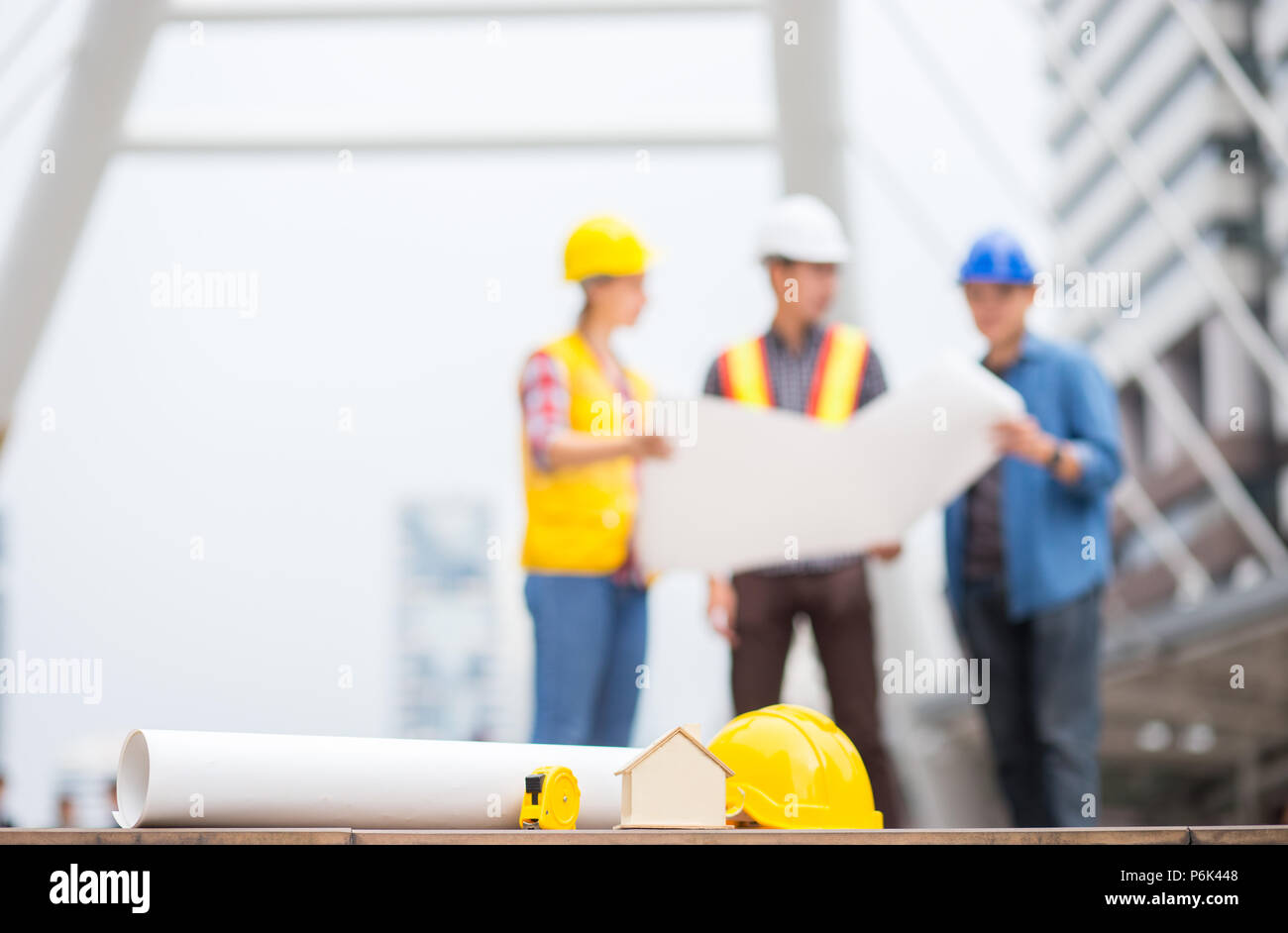 House home paper plan or blueprint and other engineer tools with house home paper plan or blueprint and other engineer tools with background of success engineer team discuss about work in the business zone malvernweather Image collections