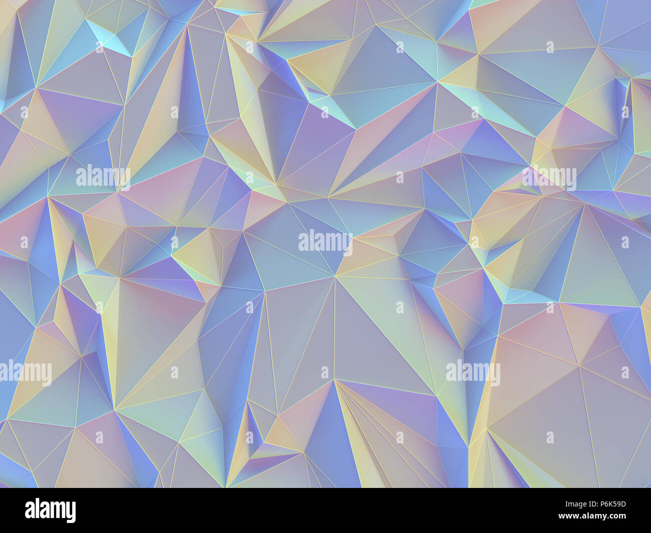3D illustration. Abstract background image, connections in lines and geometric triangular shapes. Colorful vintage pastel. Stock Photo